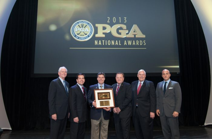 ORLANDO, FL - JANUARY 22: PGA President Ted Bishop, PGA Vice President Derek Sprague, Lou Guzzi, PGA Secretary Paul Levy, PGA Honorary President Allen Wronowski and PGA CEO Pete Bevacqua pose for a photo after The 2014 PGA of America Awards during the 61st PGA Merchandise Show, held at the Orange County Covention Center, on January 22, 2014 in Orlando, FL. (Photo by Montana Pritchard/The PGA of America)